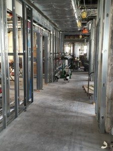7th lobby framed walls